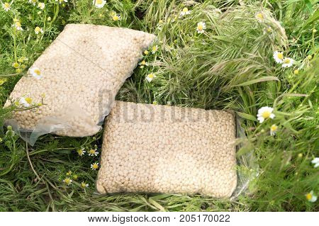 Two packs of pine nuts on a background of a camomile