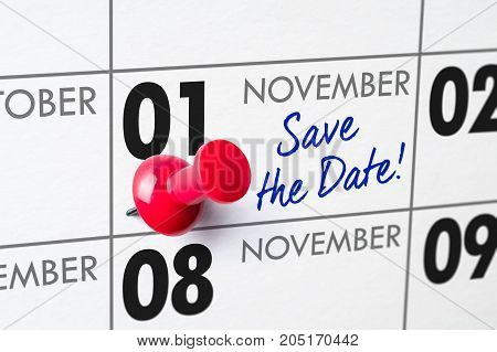 Wall Calendar With A Red Pin - November 01