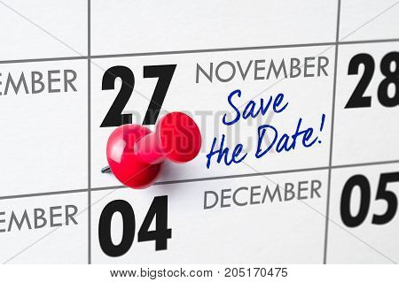 Wall Calendar With A Red Pin - November 27