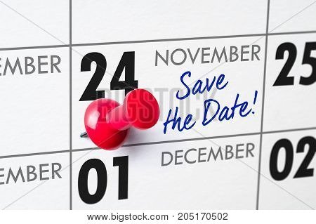 Wall Calendar With A Red Pin - November 24