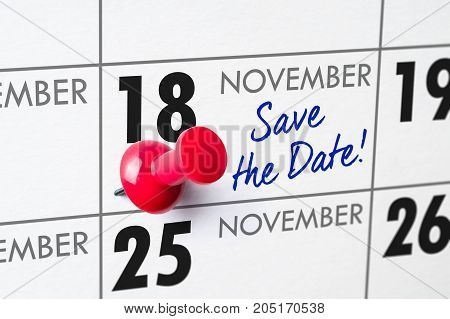 Wall Calendar With A Red Pin - November 18