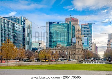 Adelaide Australia - June 28 2017: Victoria Square viewed from South to North with office buildings and traffic at morning time