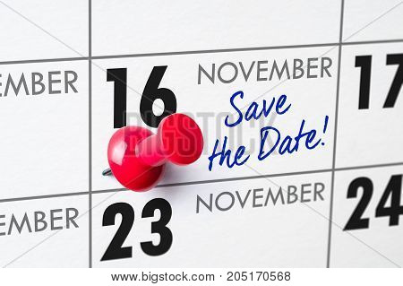 Wall Calendar With A Red Pin - November 16