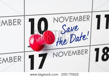 Wall Calendar With A Red Pin - November 10