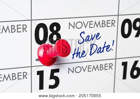 Wall Calendar With A Red Pin - November 08