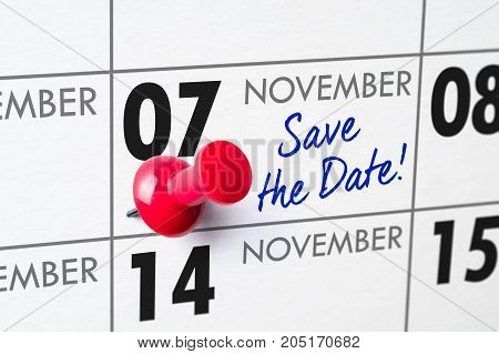 Wall Calendar With A Red Pin - November 07