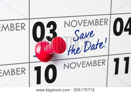 Wall Calendar With A Red Pin - November 03