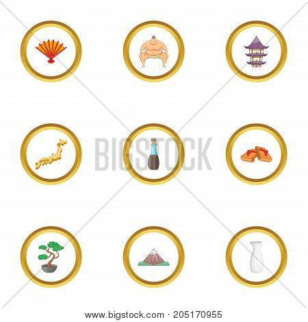 Japan sight icons set. cartoon style set of 9 japan sight vector icons for web design
