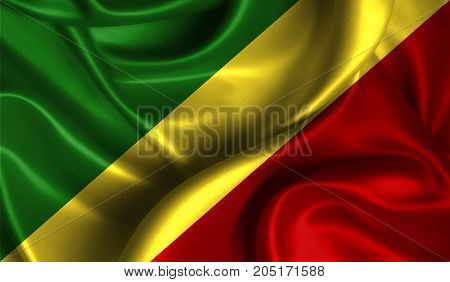 Realistic flag of Congo,Republic on the wavy surface of fabric. This flag can be used in design