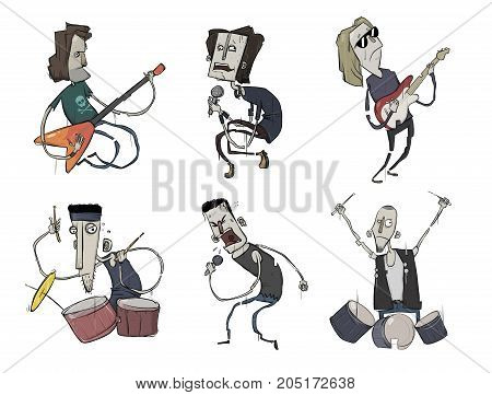 Rock music band set. Music group. Guitarists, singers and drummers play heavy metal. Vector characters. Illustration, isolated on white background.