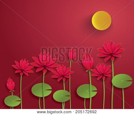 Vector Paper Lotus.Lotus and moon with red background.