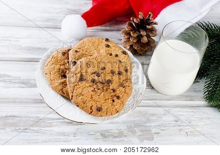 Glass Of Milk And Cookies With Chocolate For Santa