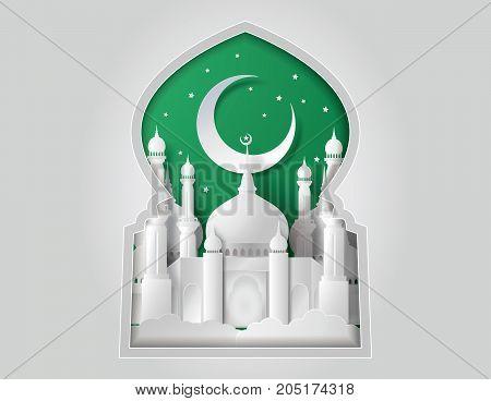 Vector of Paper Mosque. Translation: Ramadan Kareem