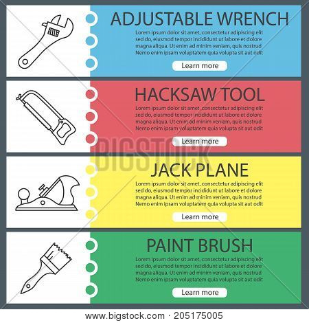 Construction tools web banner templates set. Adjustable wrench, hacksaw, jack plane, paint brush. Website color menu items with linear icons. Vector headers design concepts