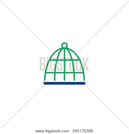 Cage flat icon. Single high quality symbol of line veterinary vector for web design or mobile app. Color sign of vet for design logo. Single pictogram on white background