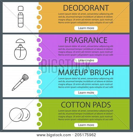 Cosmetics accessories web banner templates set. Deodorant, perfume, makeup brush, cotton pads. Website color menu items with linear icons. Vector headers design concepts