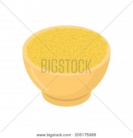 Millet In Wooden Bowl Isolated. Groats In Wood Dish. Grain On White Background. Vector Illustration