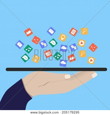 Modern Cloud Services and Cloud Computing Elements Concept. Flat Vector Illustration. Hand holds a tablet and share data on cloud. Vector flat illustration.