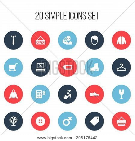 Set Of 20 Editable Business Icons. Includes Symbols Such As Explicit , Woman Symbol , Handcart