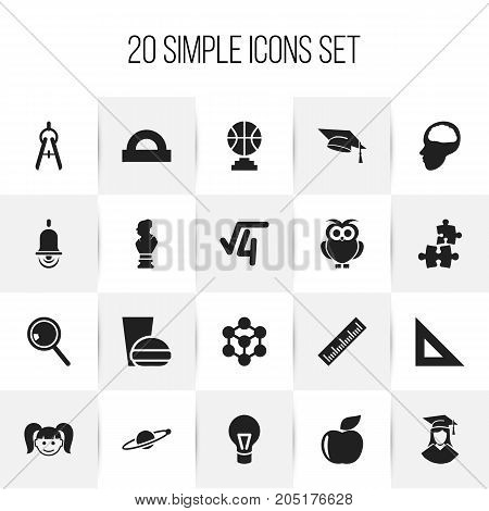 Set Of 20 Editable Science Icons. Includes Symbols Such As Graduated Female, Jigsaw, Alarm Bell And More