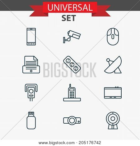 Gadget Icons Set. Collection Of Usb, Control Device, Cctv And Other Elements