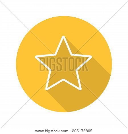 Star mark flat linear long shadow icon. Add to favorite digital sign. Vector outline symbol