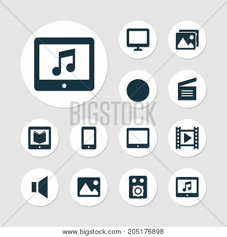 Multimedia Icons Set. Collection Of E-Reader, Picture, Screen And Other Elements
