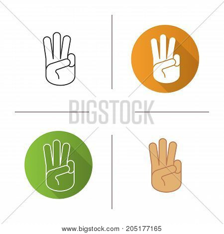 Three fingers up icon. Flat design, linear and color styles. Scout promise sign. Isolated vector illustrations