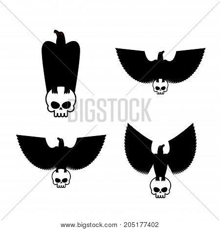 Eagle And Skull Template For Emblem Set. Hawk Logo. Vector Illustration