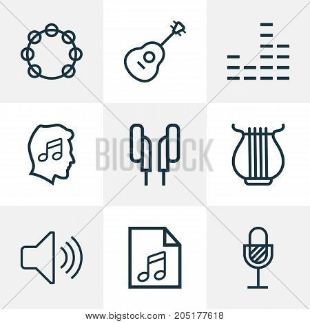 Multimedia Outline Icons Set. Collection Of Timbrel, Stringed, Headphones And Other Elements