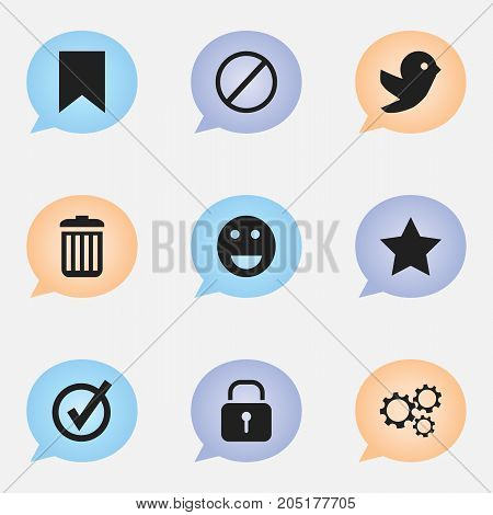 Set Of 9 Editable Internet Icons. Includes Symbols Such As Deny, Tag, Emoji And More