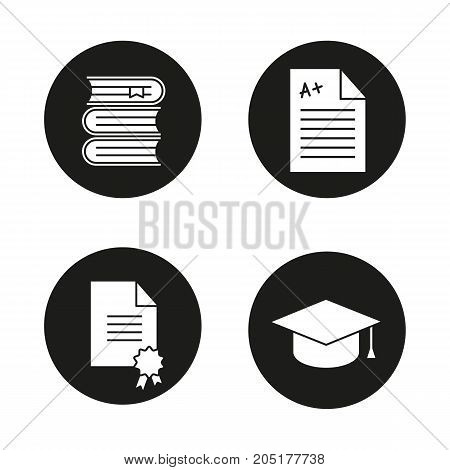 High education glyph icons set. Student's graduation hat, diploma, test with excellent mark, books stack. Vector white silhouettes illustrations in black circles