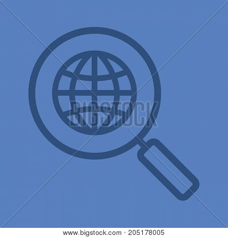 Network search linear icon. Magnifying glass with globe. Thick line outline symbols on color background. Vector illustration