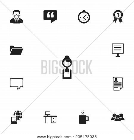 Set Of 13 Editable Bureau Icons. Includes Symbols Such As Badge, Document, Dossier And More