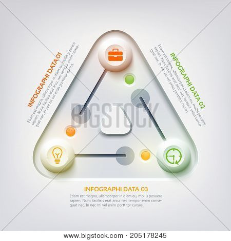 Abstract web infographic concept with triangle panel switch colorful sliders three options and business icons vector illustration