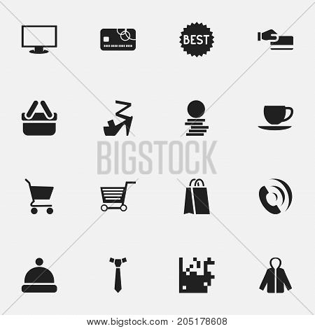Set Of 16 Editable Shopping Icons. Includes Symbols Such As Pushcart, Shopping Case, Necktie And More