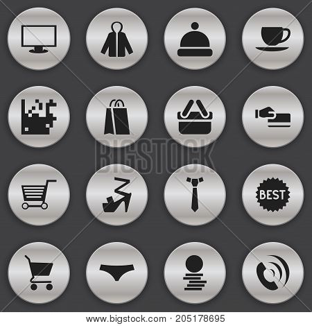 Set Of 16 Editable Trade Icons. Includes Symbols Such As Telephone, Pushcart, Disbursement And More