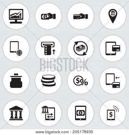Set Of 16 Editable Finance Icons. Includes Symbols Such As Statistics, Purchase, Greenback And More