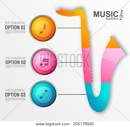 Music instrument design infographics with three colorful circles saxophone and musical notes on light background vector illustration