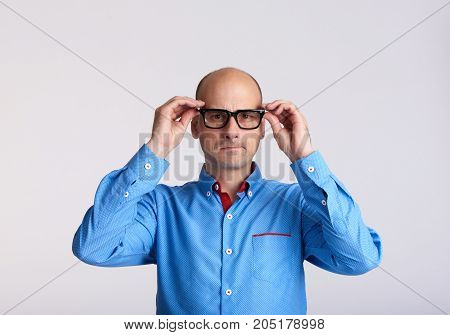 Worried Man Wearing Eyeglasses Isolated