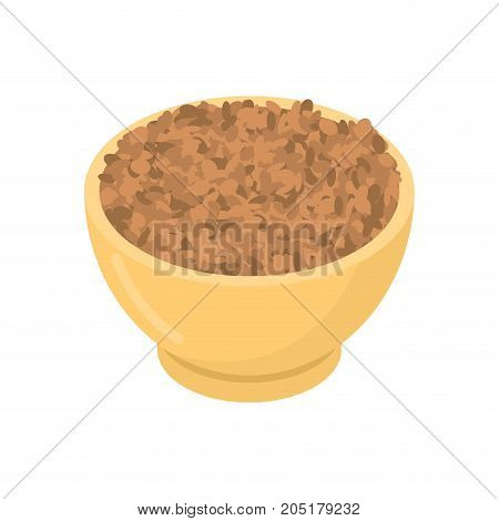 Lentils In Wooden Bowl Isolated. Groats In Wood Dish. Grain On White Background. Vector Illustration