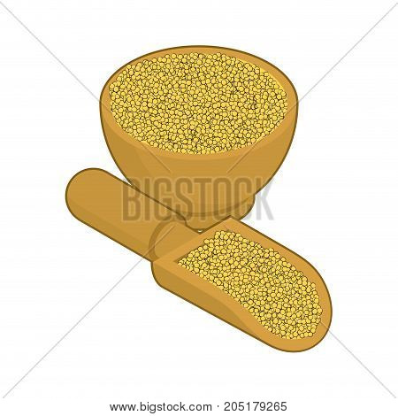 Millet In Wooden Bowl And Spoon. Groats In Wood Dish And Shovel. Grain On White Background. Vector I