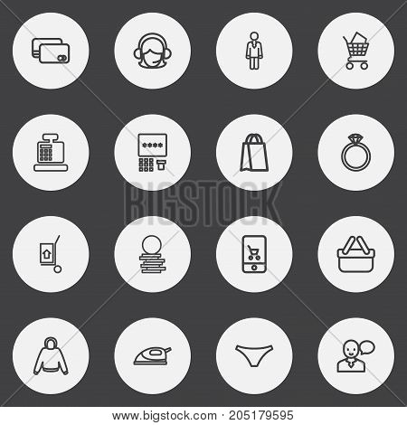 Set Of 16 Editable Business Outline Icons. Includes Symbols Such As Jewel, Hoodie, Panties And More