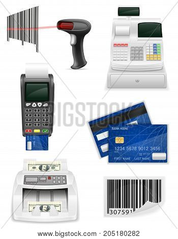 trading banking equipment for a shop set icons stock vector illustration isolated on white background