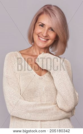 Smiling Beautiful Mid Aged Woman Isolated