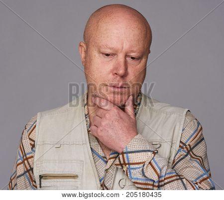 Bald Sad Senior Man Isolated