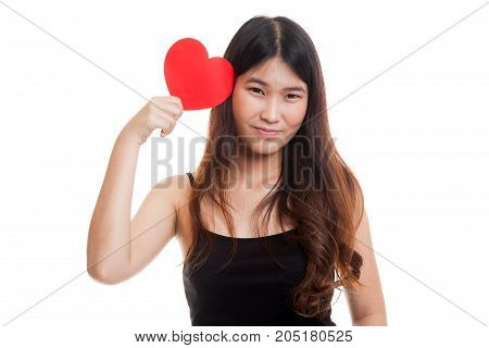 Asian Woman With Red Heart.