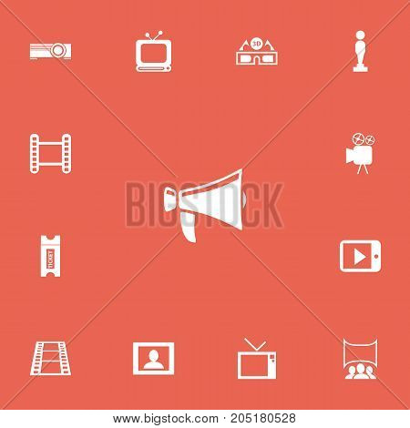 Set Of 13 Editable Cinema Icons. Includes Symbols Such As Tv, Movie Strip, Bullhorn And More