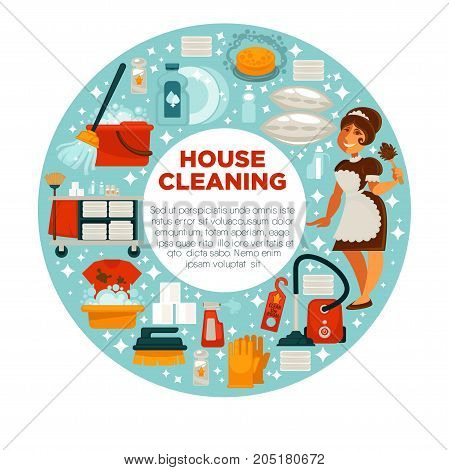 House cleaning poster of housewife or housemaid woman and room washing and mopping work tools for kitchen, bathroom mopping and linen ironing. Vector floor or window soap detergent, dust brush and mop