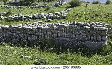 Remaining of wall on Bribir fortress, Dalmatia